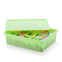 居家日用塑料文胸内衣袜子收纳盒胸罩内裤分类收纳盒子多款可选 15格绿色 有盖