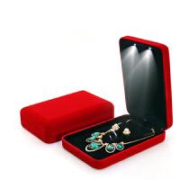创意led带灯求婚戒指盒 婚礼钻戒盒首饰包装盒对戒盒项链盒子 红色 小套装盒