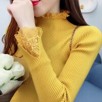 韩版新款女装秋冬甜美蕾丝拼接半高领加厚毛衣修身显瘦打底针织衫