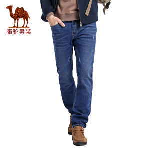 骆驼男装 秋季新款时尚青年蓝色猫须直筒牛仔裤男士长裤子
