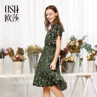 OSA欧莎夏装女2017夏装新款女装 性感V领时尚印花收腰连衣裙S117B13035