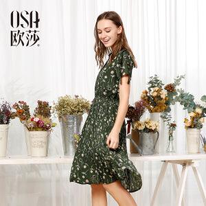 欧莎夏装女2017夏装新款女装 性感V领时尚印花收腰连衣裙S117B13035