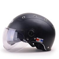 野马332夏季双镜片哈雷头盔女 四季通用摩托车安全帽男 电动车半盔防晒防紫外线