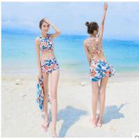 韩版时尚舒适透气性感 比基尼高腰大胸性感聚拢泳衣女泳装三件套