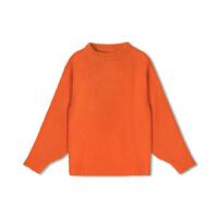 超火慵懒风橘色套头毛衣女2018秋冬新款韩版加厚网红宽松针织衫
