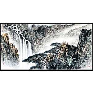 国家一级美术师 张登堂《观瀑图》JXFT677