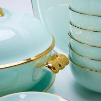 【家装节 夏季狂欢】碗碟套装 家用欧式金边创意碗盘组合骨瓷餐具