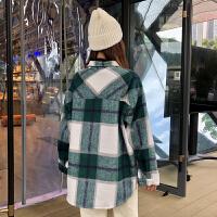 2018新款秋冬女装韩版中长款原宿风格子宽松加厚连帽呢子卫衣外套 均码