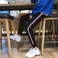 九分裤男潮青少年修身束脚裤男士韩版休闲裤青年运动裤黑色哈伦裤YC-858