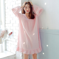 春秋季薄款纯棉长袖睡裙女士夏天粉色宽松甜美全棉睡衣中裙 粉色