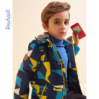 souhait水孩儿童装春季新款男童外套时尚炫酷摇粒绒内里厚风衣外套儿童风衣外套