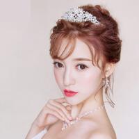 新娘头饰皇冠项链耳饰三件套韩式结婚发饰套装婚纱饰品