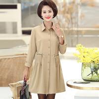 中老年风衣 女士翻领腰间抽身中长款薄款风衣2020年秋季新款韩版时尚潮流女式休闲洋气女装妈妈装外套