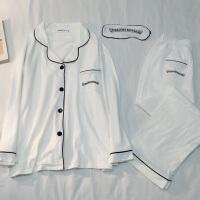 纯棉情侣睡衣套装春秋季长袖男女士开衫休闲夏款薄家居服全棉两件