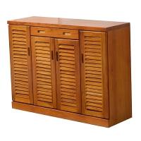 实木鞋柜多层大容量门口原木百叶门整装经济型客厅家用门厅柜