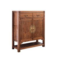 中式玄关鞋柜实木新中式老榆木门厅储物柜客厅简约门口入户玄关柜 整装