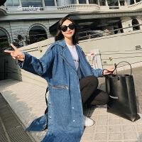 春装2018新款女牛仔外套女宽松学生韩版bf中长款风衣超火外套女 牛仔蓝 S