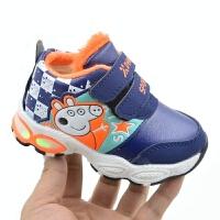 新款奥特曼童鞋儿童闪灯鞋跑步男孩子男童岁运动皮面超人发光鞋