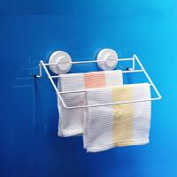 dehub吸盘毛巾杆 卫生间多杆毛巾架 吸壁式浴巾架挂杆 厨房擦手毛巾架 银色