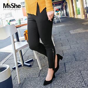 MsShe加大码裤子2017新款冬装修身弹力松紧腰高腰小脚裤M1740205