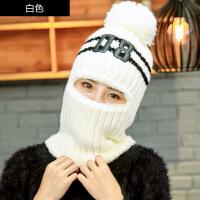 帽子女冬韩版时尚加厚骑行毛线帽可爱加绒骑车休闲保暖围脖一体护耳帽