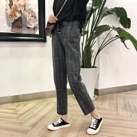 2018春装新款女装韩版小清新英伦风格子休闲长裤百搭加绒哈伦裤子 灰色 S