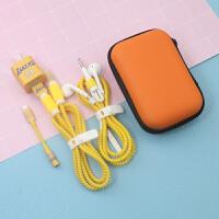 创意简约iphone x/苹果8plus数据线保护套7plus/se耳机绕线器5s保护绳 +收纳包