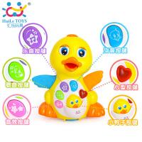 汇乐玩具808EQ摇摆大黄鸭子婴幼儿音乐电动万向益智动物玩具1-3岁