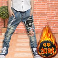 男童牛仔裤长裤春秋2017春装裤子男中大童�b休闲弹力小脚裤潮