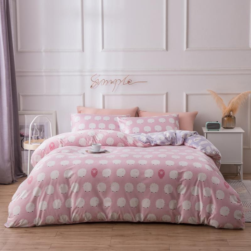 LOVO家纺 四件套床品四件套水晶绒法兰绒床品三/四件套保暖床单被套 暖心绵意