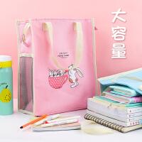 学生手提袋拎书袋帆布韩版补习袋儿童补课袋大号大容量美术袋学生手提袋卡通可爱中学生用学习袋