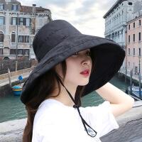 Makino/犸凯奴 新款时尚大檐可折叠太阳帽子女遮阳帽防晒帽子