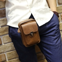 新款男包 手机包韩版男士腰包皮质小包户外休闲迷你挂包疯马皮烟包
