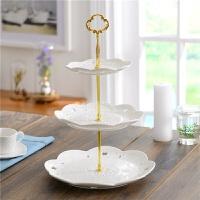 陶瓷水果盘果篮托盘时尚创意欧式三层糖果零食干果点心盘子