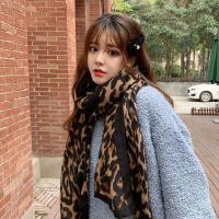 款秋冬季韩版棉麻豹纹围巾女东大门披肩百搭韩国网红围脖加厚