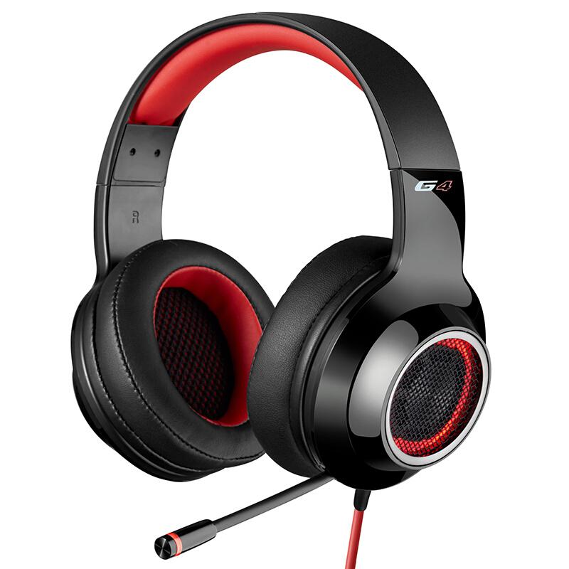 Edifier 漫步者 G4 USB7.1声道 头戴式 带线控 电脑耳麦 电竞游戏耳机 热血红头戴式 带线控 电脑耳麦 电竞游戏耳机