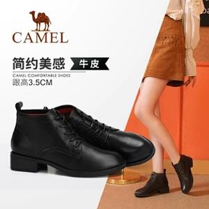 Camel/骆驼2018冬季新款 简约质感舒适时尚大气低跟系带女靴