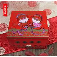 龙凤呈祥喜字结婚大质带镜首饰盒新娘出嫁化妆盒结婚礼物Q