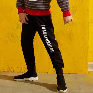 【尾品汇直降】小虎宝儿童装男童运动裤哈伦裤2018新款儿童运动裤秋冬装加厚加绒中大童保暖长裤子