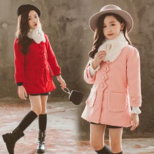 童装2018冬季新款女童夹棉毛领呢大衣儿童时尚上衣宝宝加厚外套