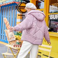 毛菇小象粉色休闲棉衣女冬新款宽松连帽棉袄学生加厚保暖外套