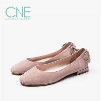 CNE2019年春夏款温柔鞋后跟蝴蝶结奶奶鞋芭蕾鞋女单鞋9M06311