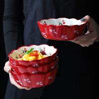 光一陶瓷樱桃小碗单个盘子樱花餐具可爱超萌少女心日式学生一人食套装