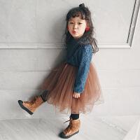 女童连衣裙秋装新款2017加绒加厚女童年款裙子红韩版蕾丝公主裙 蓝色 100cm (吊牌100/7码)