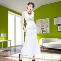 性感晚礼服长款新款时尚夜店宴会高贵优雅修身鱼尾白色吊带连衣裙