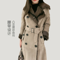 网易严选 法国小山羊毛皮,女式皮毛一体双排扣风衣