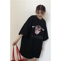 春季女装韩版原宿风中长款2018新款女孩印花宽松短袖T恤学生打底衫上衣潮