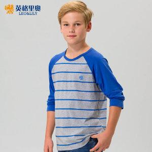 2017春秋装男童圆领纯棉长袖T恤中大童条纹套头上衣青少年打底衫