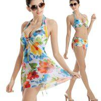 hosa浩沙泳衣女三件套比基尼小胸条纹泳装 温泉泳池大胸聚拢