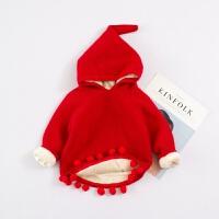 宝宝套头毛衣女新款1连帽女童秋加绒针织衫3岁婴儿红色公主外套 红色 全身加绒 4码 参考身高75左右